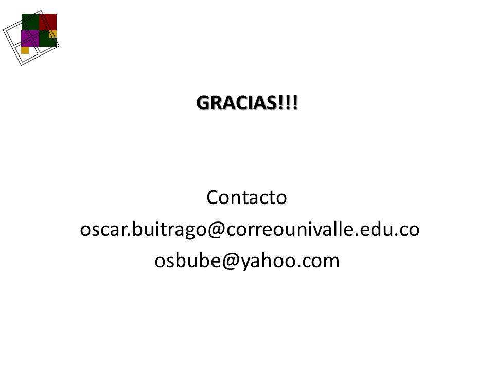 GRACIAS!!! Contacto oscar.buitrago@correounivalle.edu.co osbube@yahoo.com