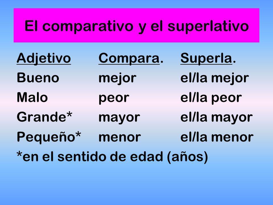 El comparativo y el superlativo También hay un grupo de comparativos y superlativos irregulares Son...