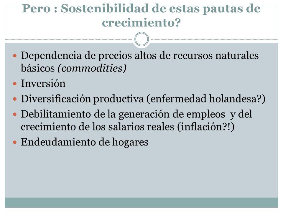 Pero : Sostenibilidad de estas pautas de crecimiento? Dependencia de precios altos de recursos naturales básicos (commodities) Inversión Diversificaci