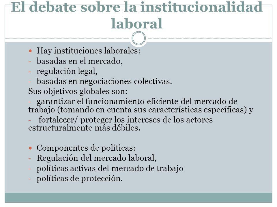 El debate sobre la institucionalidad laboral Hay instituciones laborales: - basadas en el mercado, - regulación legal, - basadas en negociaciones cole