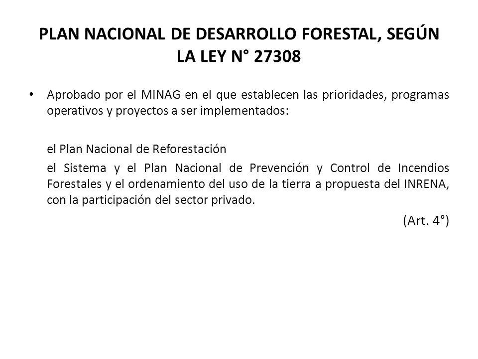 PLAN NACIONAL DE DESARROLLO FORESTAL, SEGÚN LA LEY N° 27308 Aprobado por el MINAG en el que establecen las prioridades, programas operativos y proyect