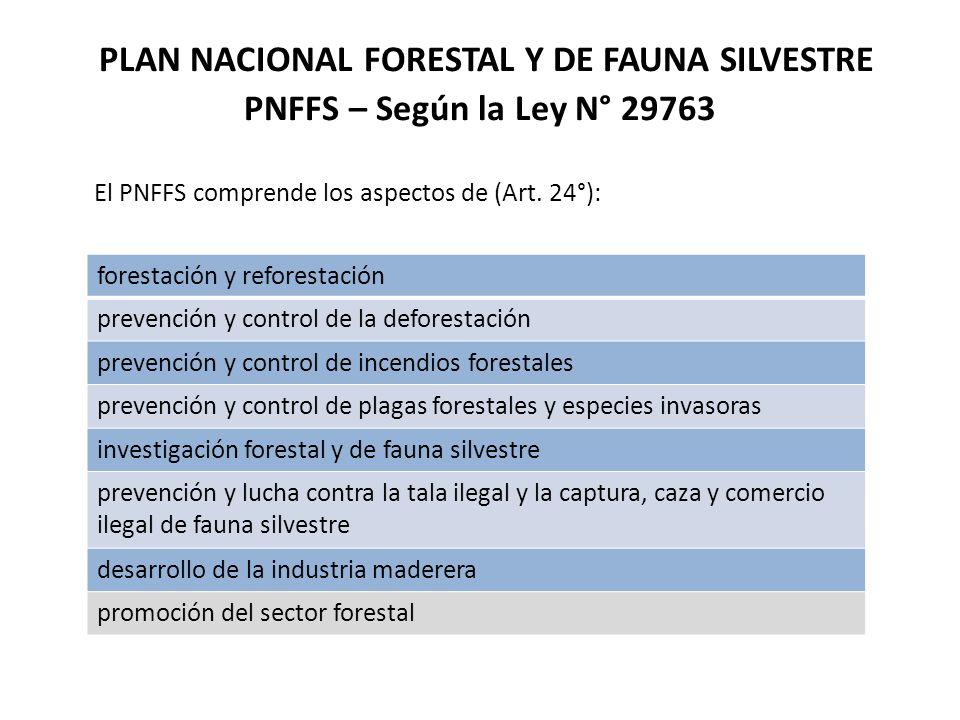 PLAN NACIONAL FORESTAL Y DE FAUNA SILVESTRE PNFFS – Según la Ley N° 29763 El PNFFS comprende los aspectos de (Art. 24°): forestación y reforestación p