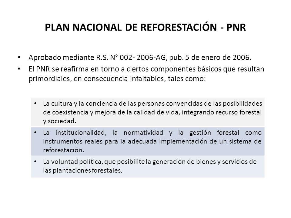 PLAN NACIONAL DE REFORESTACIÓN - PNR Aprobado mediante R.S. N° 002- 2006-AG, pub. 5 de enero de 2006. El PNR se reafirma en torno a ciertos componente