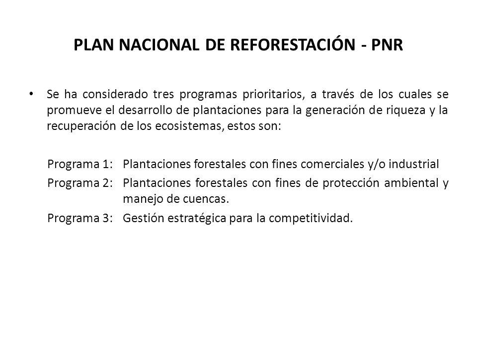 PLAN NACIONAL DE REFORESTACIÓN - PNR Se ha considerado tres programas prioritarios, a través de los cuales se promueve el desarrollo de plantaciones p