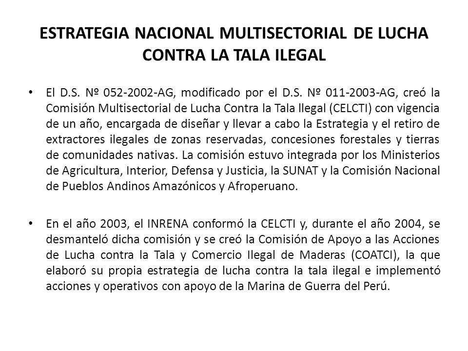 ESTRATEGIA NACIONAL MULTISECTORIAL DE LUCHA CONTRA LA TALA ILEGAL El D.S. Nº 052-2002-AG, modificado por el D.S. Nº 011-2003-AG, creó la Comisión Mult