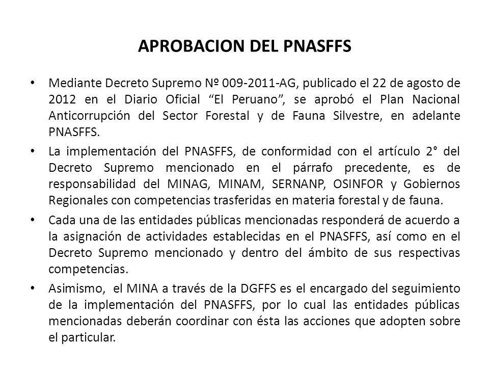 APROBACION DEL PNASFFS Mediante Decreto Supremo Nº 009-2011-AG, publicado el 22 de agosto de 2012 en el Diario Oficial El Peruano, se aprobó el Plan N