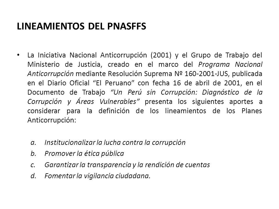 LINEAMIENTOS DEL PNASFFS La Iniciativa Nacional Anticorrupción (2001) y el Grupo de Trabajo del Ministerio de Justicia, creado en el marco del Program