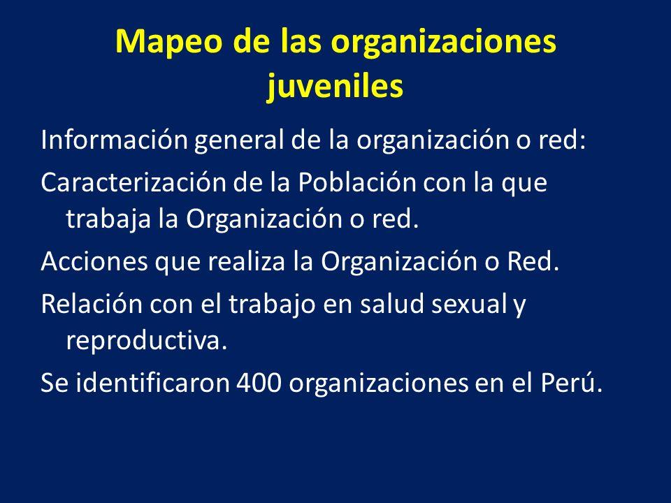 Conformación de los Consejos Regionales para la Prevención del Embarazo en Adolescente Se eligieron los siguientes departamentos por la consolidación de las redes juveniles en estas regiones buscando la representatividad de Costa, Sierra y Selva: – Tumbes – Loreto – Ucayali – Lima y Callao – Ayacucho