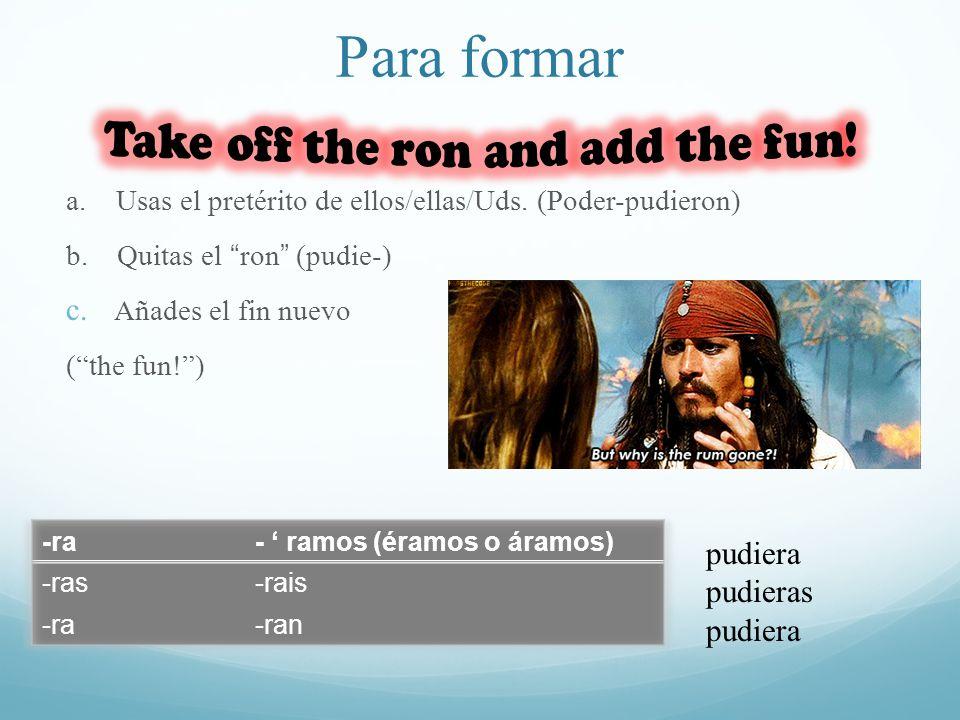 Para formar a. Usas el pretérito de ellos/ellas/Uds. (Poder-pudieron) b. Quitas el ron (pudie-) c. Añades el fin nuevo (the fun!) pudiera pudieras pud