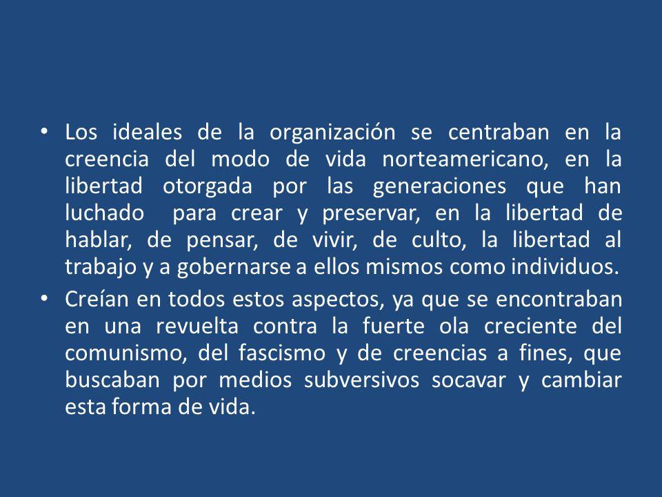 Los ideales de la organización se centraban en la creencia del modo de vida norteamericano, en la libertad otorgada por las generaciones que han lucha