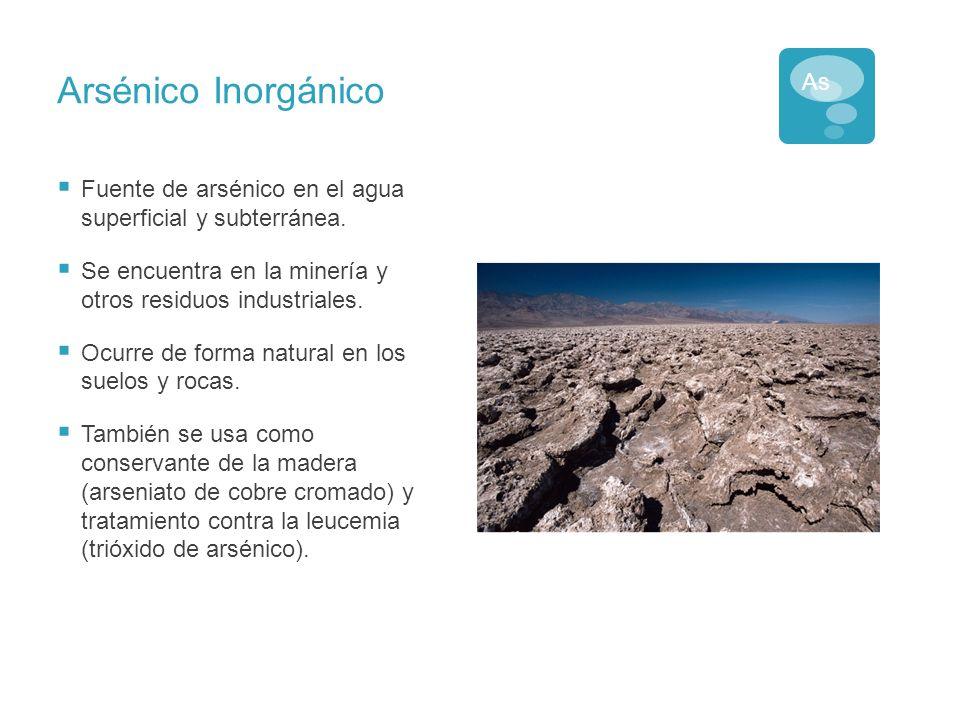 Arsénico Orgánico Las bacterias, los hongos y algunas plantas convierten al arsénico inorgánico en compuestos orgánicos del arsénico.