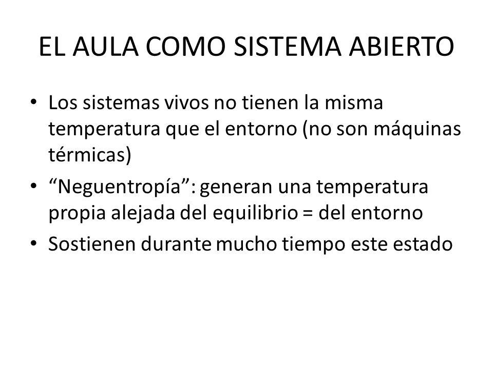 EL AULA COMO SISTEMA ABIERTO Los sistemas vivos no tienen la misma temperatura que el entorno (no son máquinas térmicas) Neguentropía: generan una tem