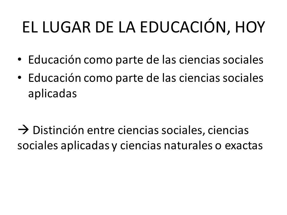 EL LUGAR DE LA EDUCACIÓN, HOY Educación como parte de las ciencias sociales Educación como parte de las ciencias sociales aplicadas Distinción entre c