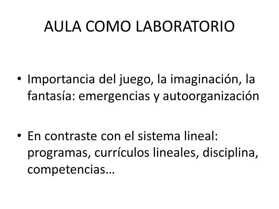 AULA COMO LABORATORIO Importancia del juego, la imaginación, la fantasía: emergencias y autoorganización En contraste con el sistema lineal: programas