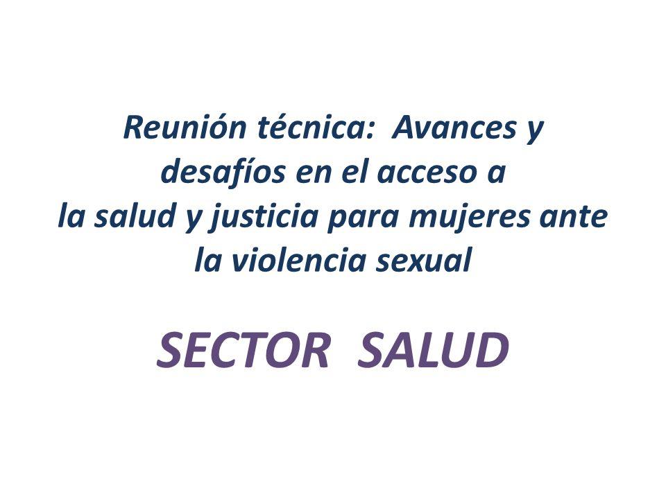 Reunión técnica: Avances y desafíos en el acceso a la salud y justicia para mujeres ante la violencia sexual SECTOR SALUD