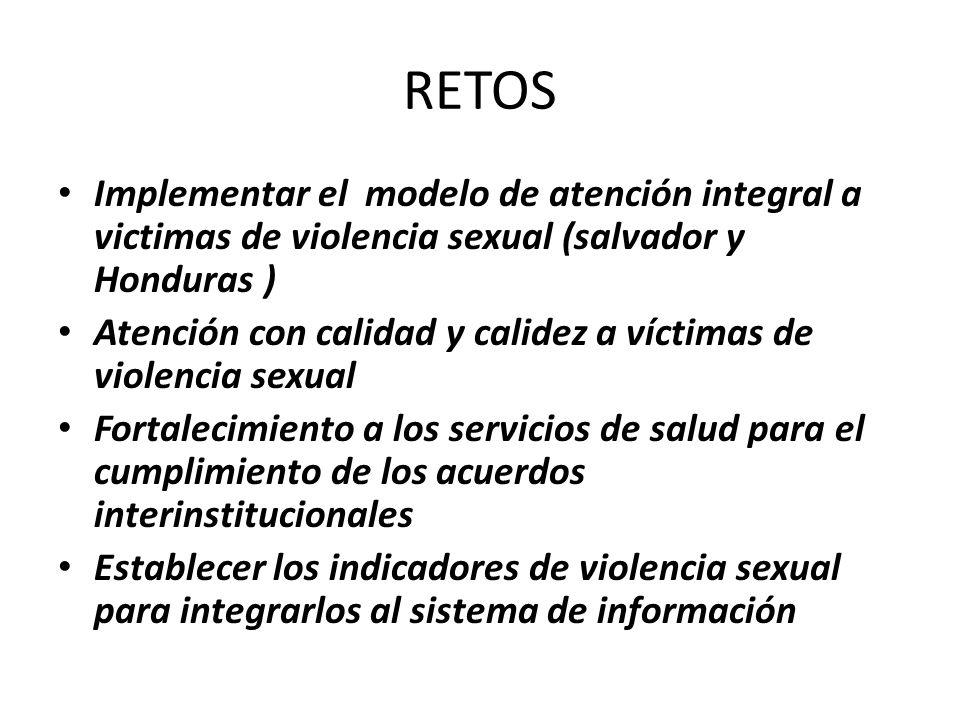RETOS Implementar el modelo de atención integral a victimas de violencia sexual (salvador y Honduras ) Atención con calidad y calidez a víctimas de violencia sexual Fortalecimiento a los servicios de salud para el cumplimiento de los acuerdos interinstitucionales Establecer los indicadores de violencia sexual para integrarlos al sistema de información