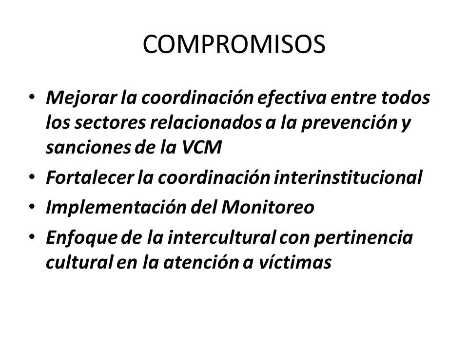 COMPROMISOS Mejorar la coordinación efectiva entre todos los sectores relacionados a la prevención y sanciones de la VCM Fortalecer la coordinación interinstitucional Implementación del Monitoreo Enfoque de la intercultural con pertinencia cultural en la atención a víctimas