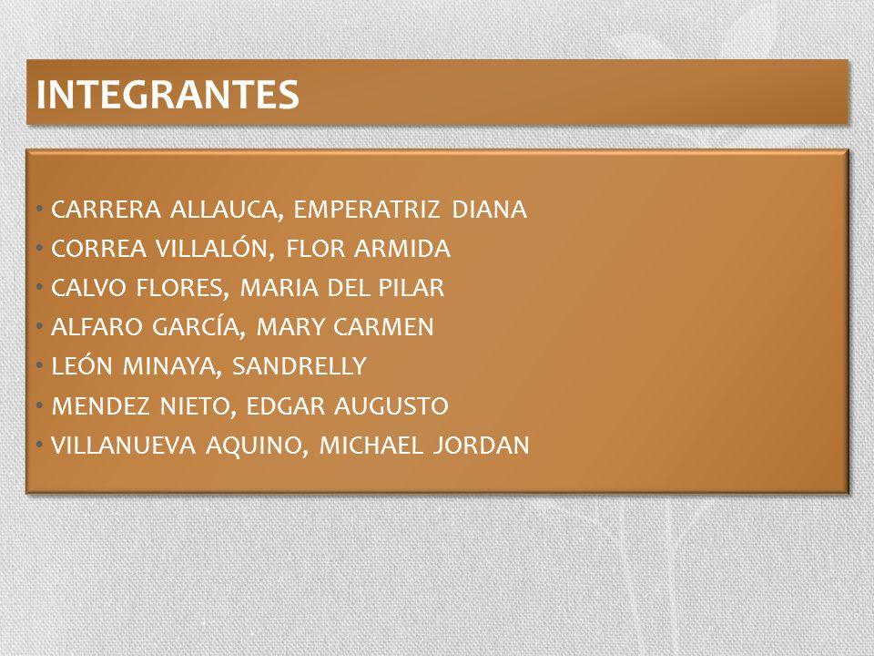 INTEGRANTES CARRERA ALLAUCA, EMPERATRIZ DIANA CORREA VILLALÓN, FLOR ARMIDA CALVO FLORES, MARIA DEL PILAR ALFARO GARCÍA, MARY CARMEN LEÓN MINAYA, SANDR