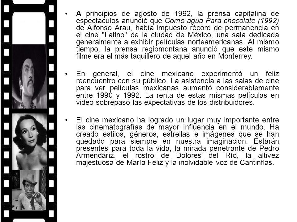 A principios de agosto de 1992, la prensa capitalina de espectáculos anunció que Como agua Para chocolate (1992) de Alfonso Arau, había impuesto récor