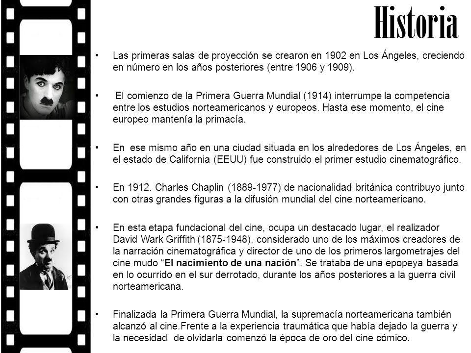 Historia Las primeras salas de proyección se crearon en 1902 en Los Ángeles, creciendo en número en los años posteriores (entre 1906 y 1909). El comie