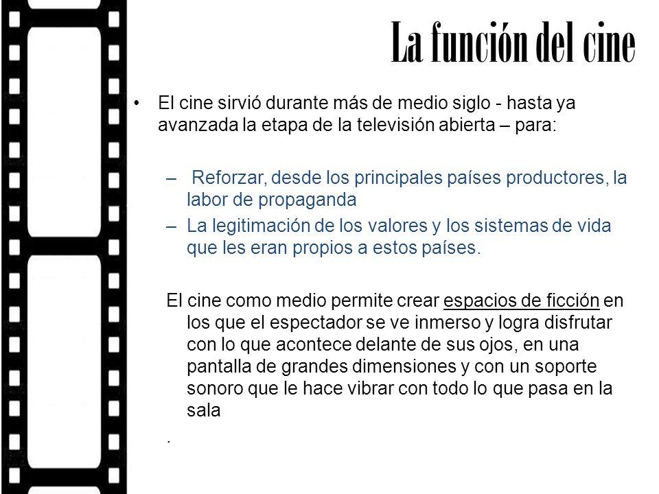La función del cine El cine sirvió durante más de medio siglo - hasta ya avanzada la etapa de la televisión abierta – para: – Reforzar, desde los prin
