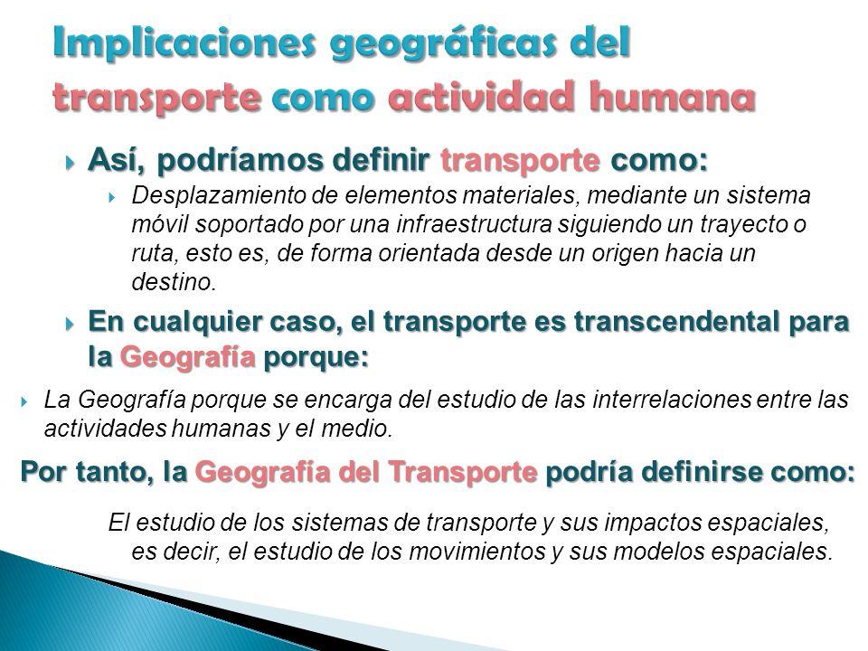 Así, podríamos definir transporte como: Así, podríamos definir transporte como: Desplazamiento de elementos materiales, mediante un sistema móvil soportado por una infraestructura siguiendo un trayecto o ruta, esto es, de forma orientada desde un origen hacia un destino.