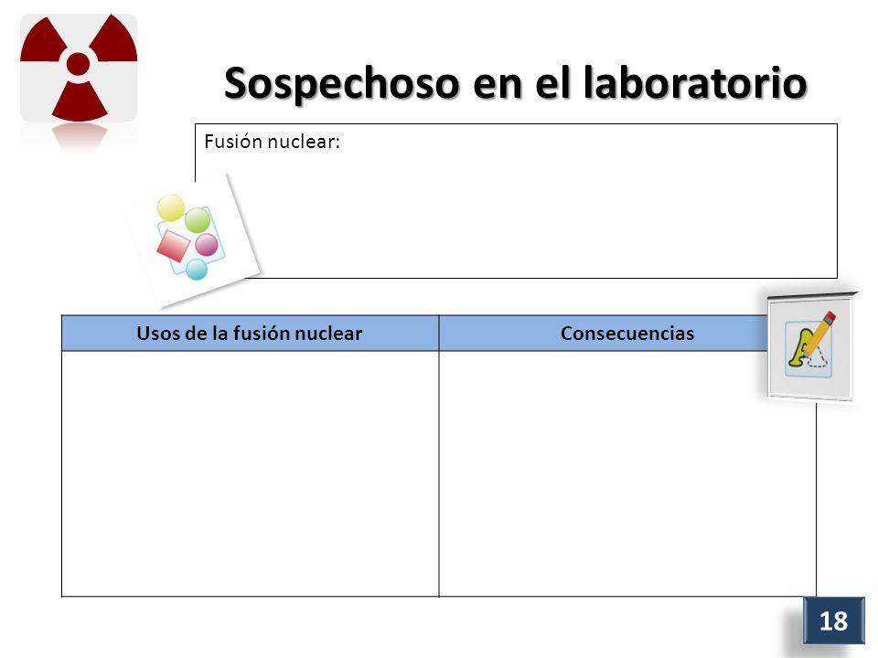 Sospechoso en el laboratorio Fusión nuclear: Usos de la fusión nuclearConsecuencias 18