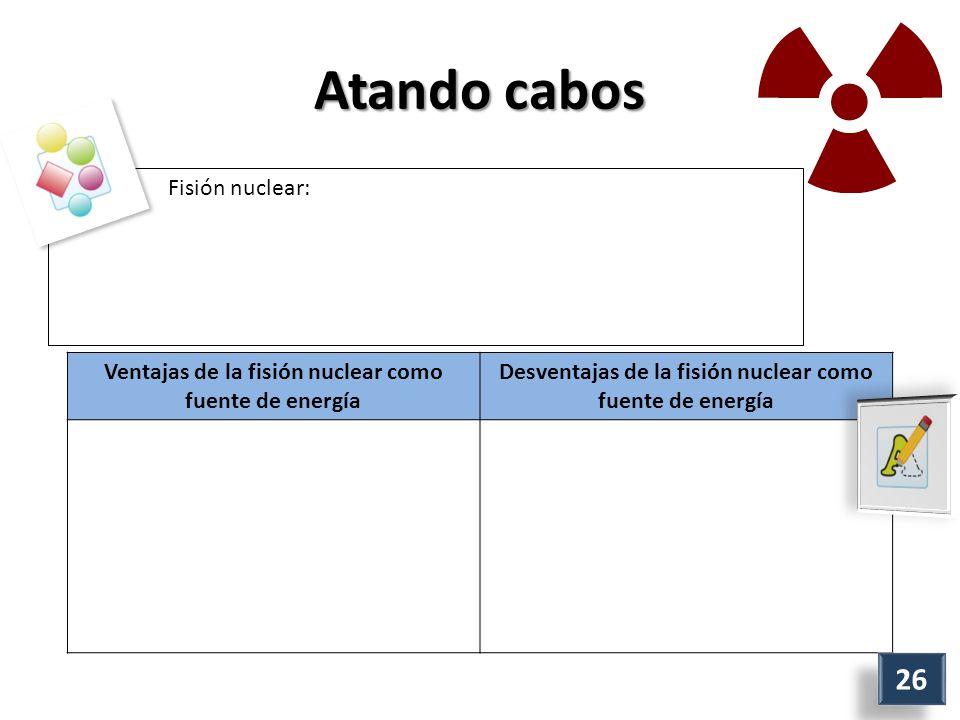Atando cabos Fisión nuclear: Ventajas de la fisión nuclear como fuente de energía Desventajas de la fisión nuclear como fuente de energía 26