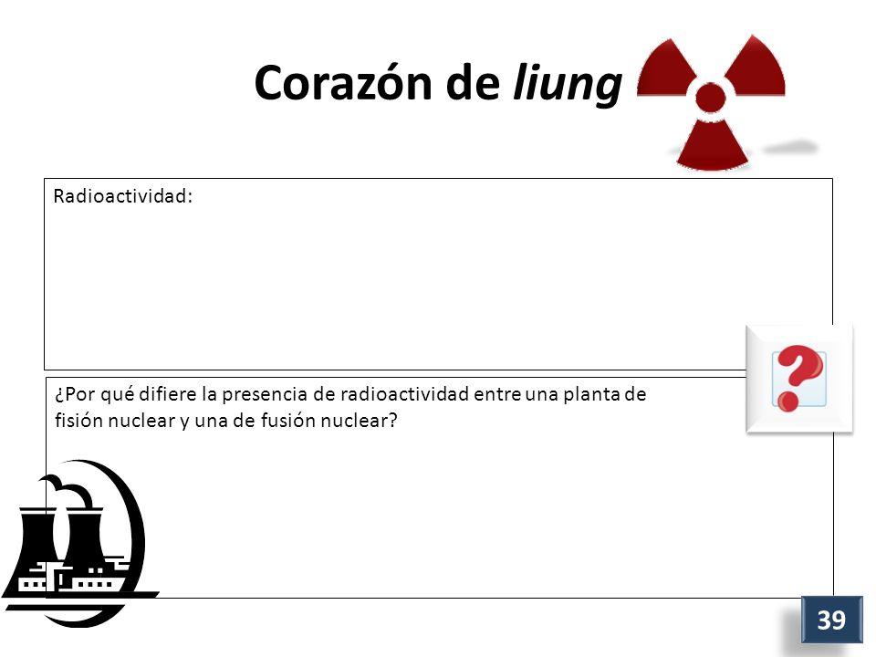 Corazón de liung Radioactividad: ¿Por qué difiere la presencia de radioactividad entre una planta de fisión nuclear y una de fusión nuclear.
