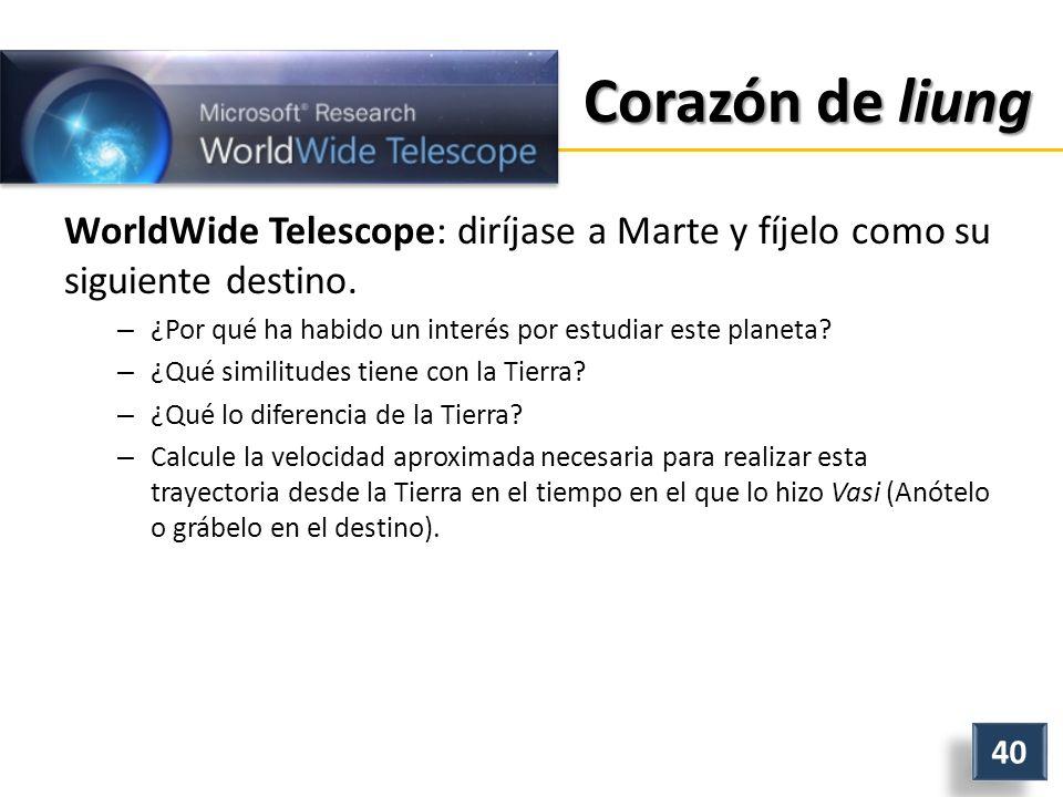 Corazón de liung WorldWide Telescope: diríjase a Marte y fíjelo como su siguiente destino.