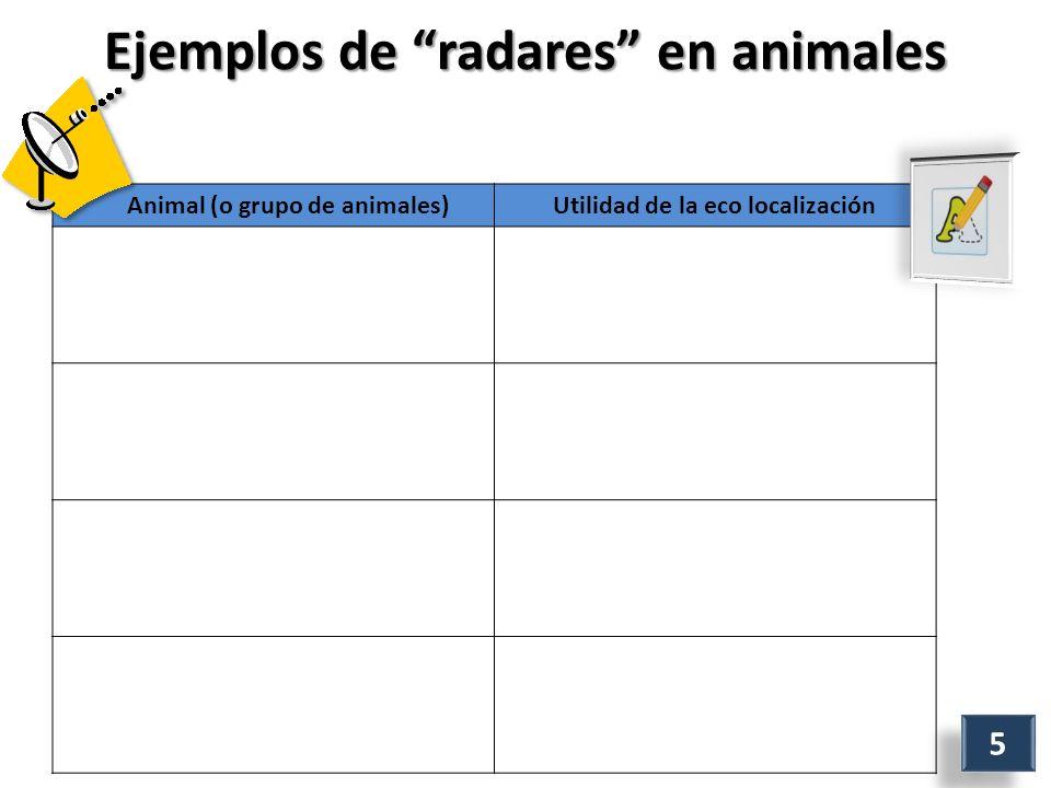 Ejemplos de radares en animales Animal (o grupo de animales)Utilidad de la eco localización 5 5