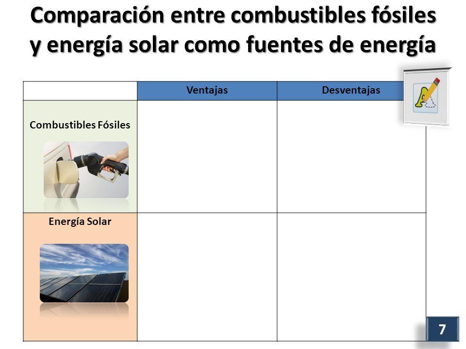 Comparación entre combustibles fósiles y energía solar como fuentes de energía VentajasDesventajas Combustibles Fósiles Energía Solar 7 7