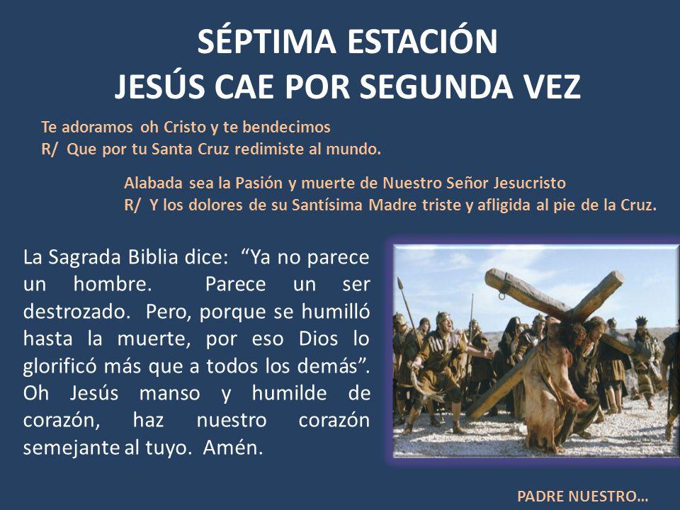 SÉPTIMA ESTACIÓN JESÚS CAE POR SEGUNDA VEZ La Sagrada Biblia dice: Ya no parece un hombre. Parece un ser destrozado. Pero, porque se humilló hasta la