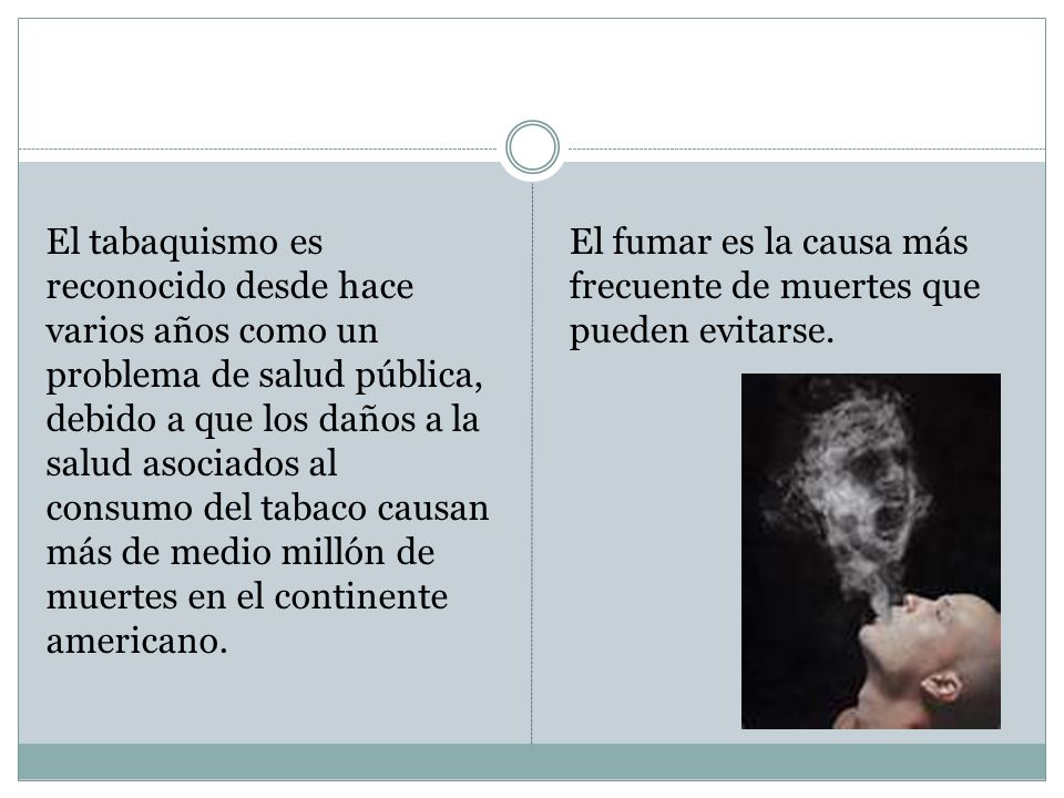 El tabaquismo es reconocido desde hace varios años como un problema de salud pública, debido a que los daños a la salud asociados al consumo del tabac