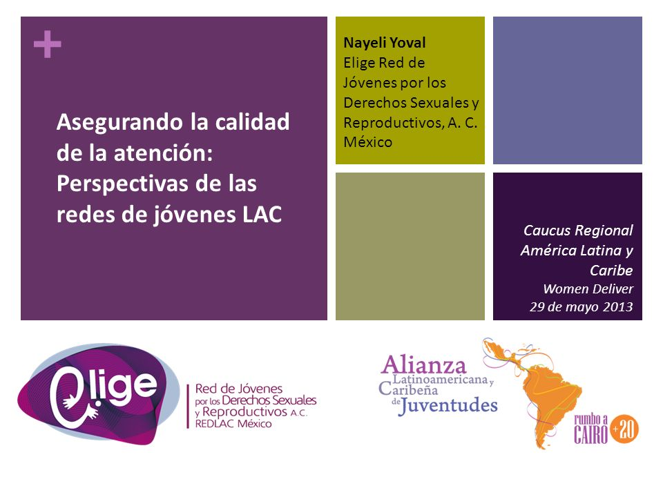 + Asegurando la calidad de la atención: Perspectivas de las redes de jóvenes LAC Caucus Regional América Latina y Caribe Women Deliver 29 de mayo 2013 Nayeli Yoval Elige Red de Jóvenes por los Derechos Sexuales y Reproductivos, A.