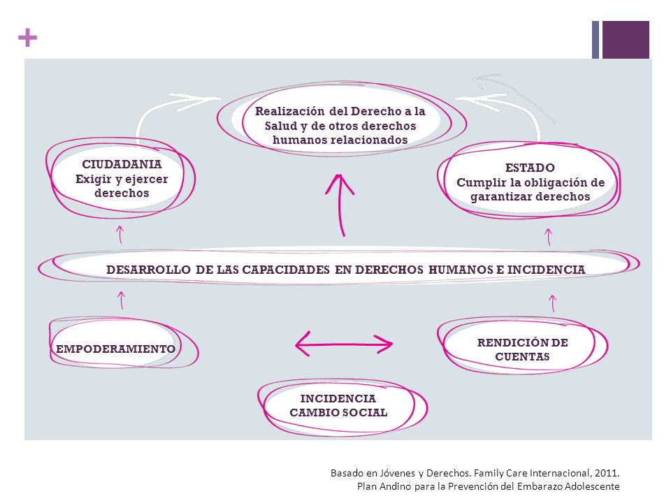 + Realización del Derecho a la Salud y de otros derechos humanos relacionados ESTADO Cumplir la obligación de garantizar derechos CIUDADANIA Exigir y ejercer derechos DESARROLLO DE LAS CAPACIDADES EN DERECHOS HUMANOS E INCIDENCIA EMPODERAMIENTO RENDICIÓN DE CUENTAS INCIDENCIA CAMBIO SOCIAL Basado en Jóvenes y Derechos.