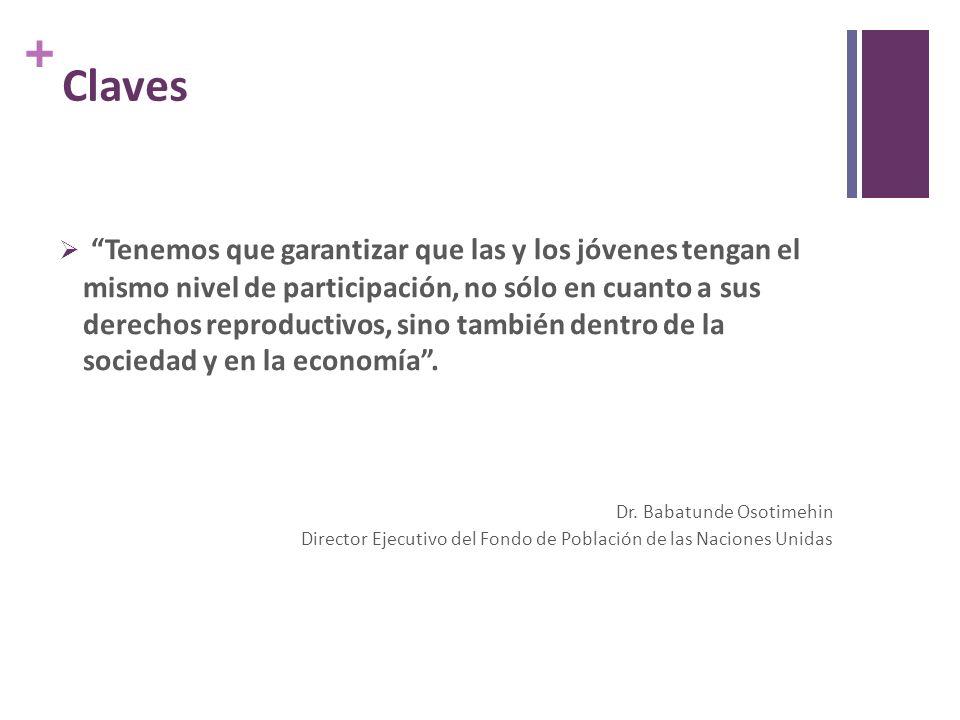 + Claves Tenemos que garantizar que las y los jóvenes tengan el mismo nivel de participación, no sólo en cuanto a sus derechos reproductivos, sino también dentro de la sociedad y en la economía.