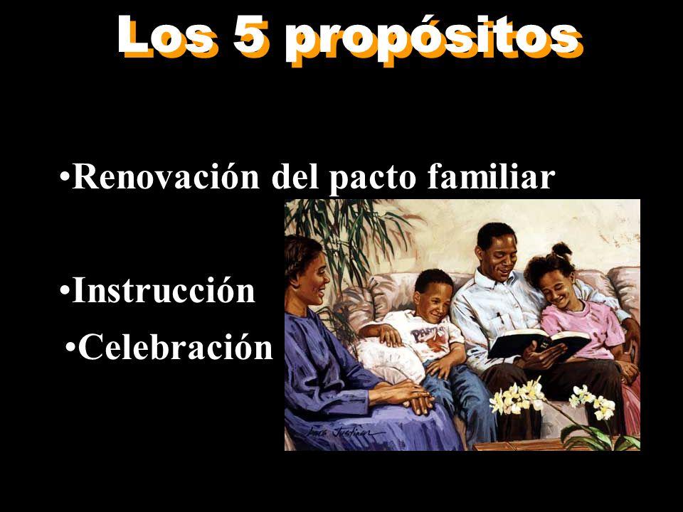 Los 5 propósitos Adoración Renovación del pacto familiar Sacrificio Instrucción Celebración