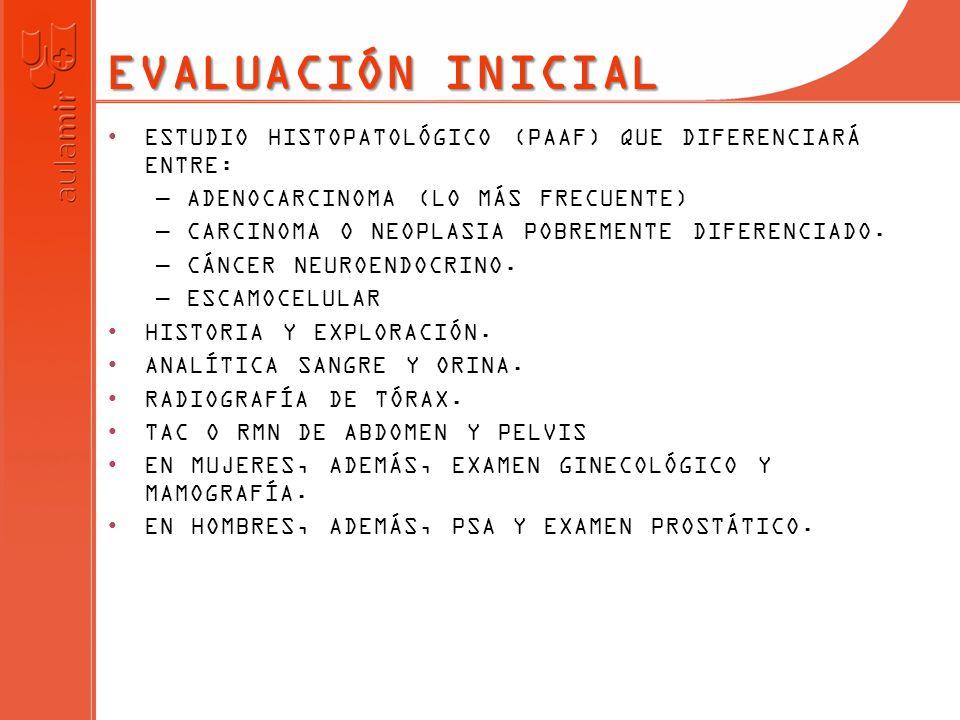 EN ADENOCARCINOMAS LOS MAS FRECUENTES SON PULMÓN, PÁNCREAS, HEPATOBILIARES Y RENALES.