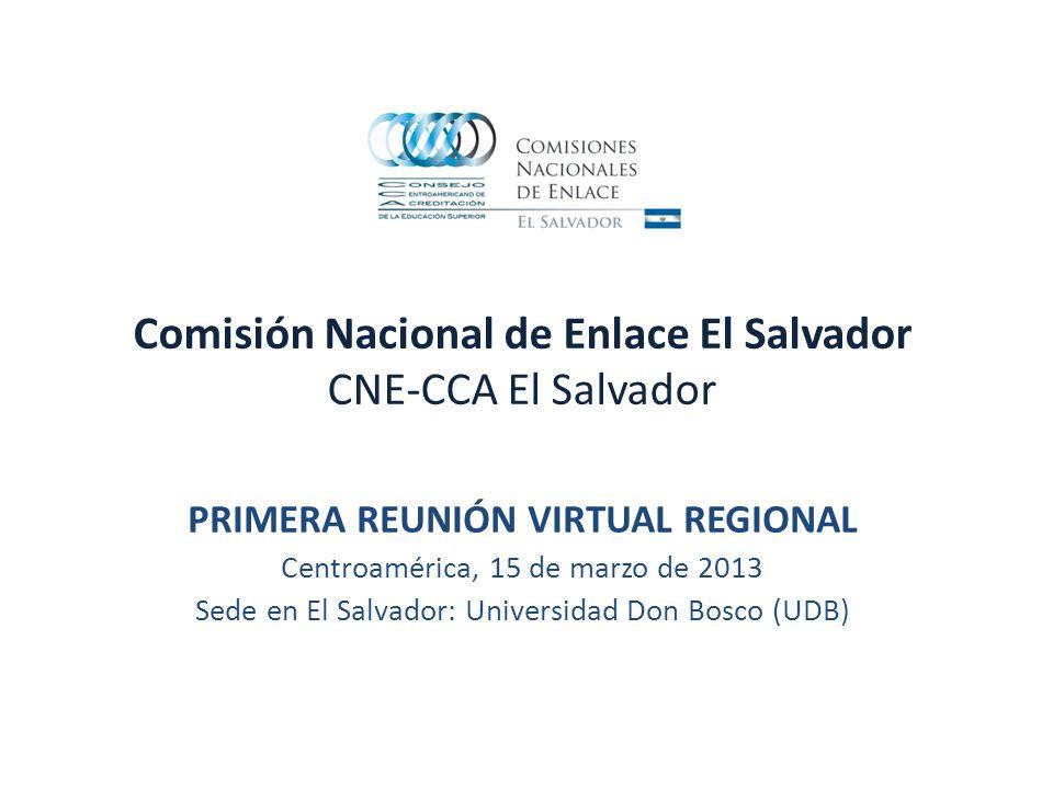 Comisión Nacional de Enlace El Salvador CNE-CCA El Salvador PRIMERA REUNIÓN VIRTUAL REGIONAL Centroamérica, 15 de marzo de 2013 Sede en El Salvador: Universidad Don Bosco (UDB)