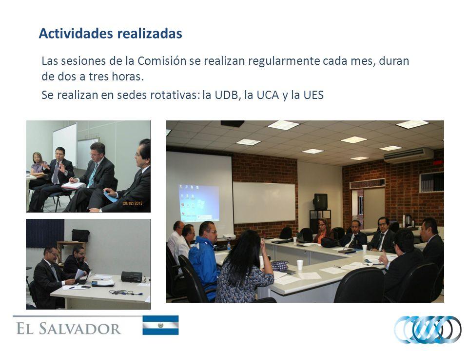 Actividades realizadas Las sesiones de la Comisión se realizan regularmente cada mes, duran de dos a tres horas. Se realizan en sedes rotativas: la UD