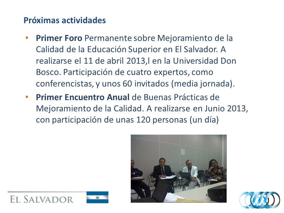 Próximas actividades Primer Foro Permanente sobre Mejoramiento de la Calidad de la Educación Superior en El Salvador. A realizarse el 11 de abril 2013