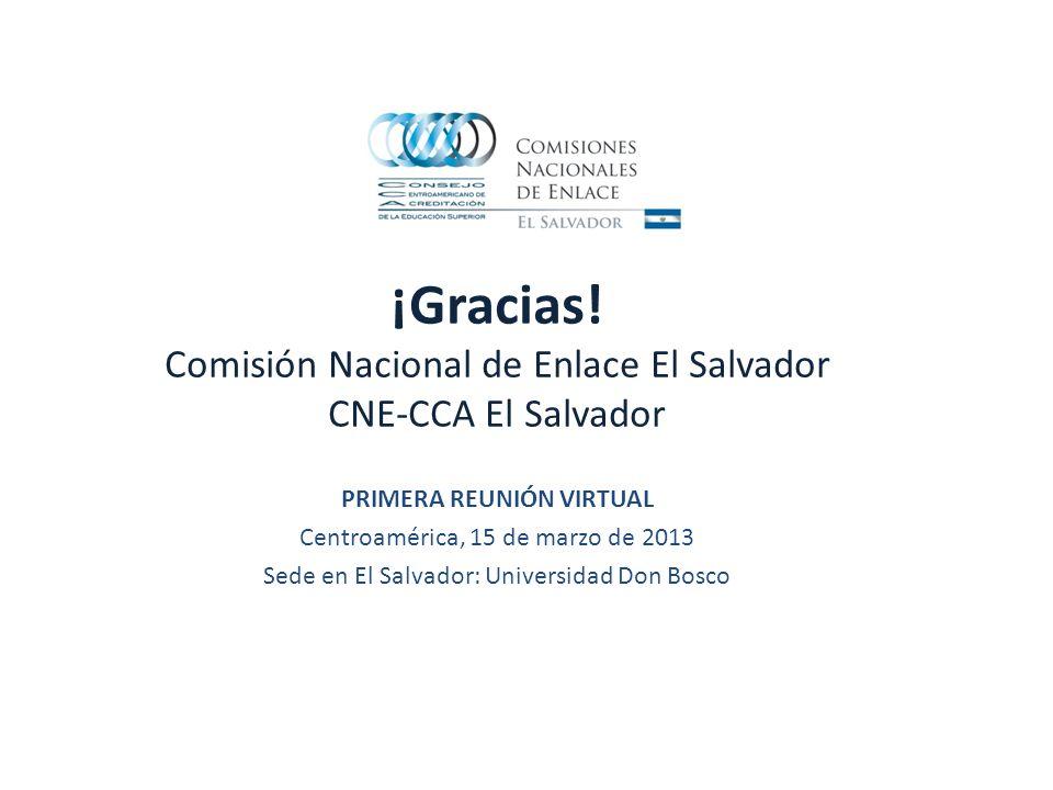 ¡Gracias! Comisión Nacional de Enlace El Salvador CNE-CCA El Salvador PRIMERA REUNIÓN VIRTUAL Centroamérica, 15 de marzo de 2013 Sede en El Salvador:
