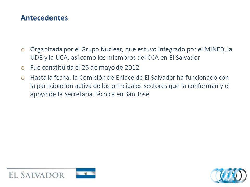 Antecedentes o Organizada por el Grupo Nuclear, que estuvo integrado por el MINED, la UDB y la UCA, así como los miembros del CCA en El Salvador o Fue constituida el 25 de mayo de 2012 o Hasta la fecha, la Comisión de Enlace de El Salvador ha funcionado con la participación activa de los principales sectores que la conforman y el apoyo de la Secretaría Técnica en San José