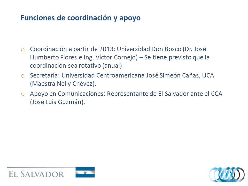 Funciones de coordinación y apoyo o Coordinación a partir de 2013: Universidad Don Bosco (Dr. José Humberto Flores e Ing. Víctor Cornejo) – Se tiene p