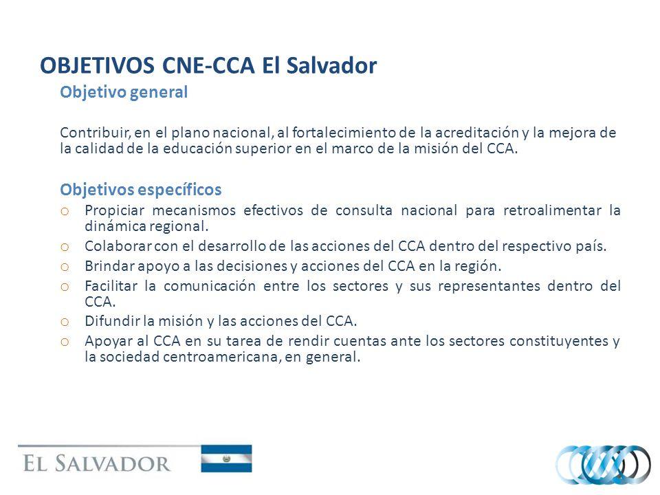 OBJETIVOS CNE-CCA El Salvador Objetivo general Contribuir, en el plano nacional, al fortalecimiento de la acreditación y la mejora de la calidad de la educación superior en el marco de la misión del CCA.