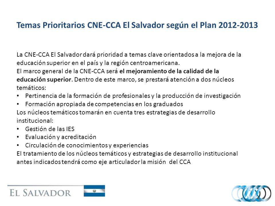 Temas Prioritarios CNE-CCA El Salvador según el Plan 2012-2013 La CNE-CCA El Salvador dará prioridad a temas clave orientados a la mejora de la educación superior en el país y la región centroamericana.