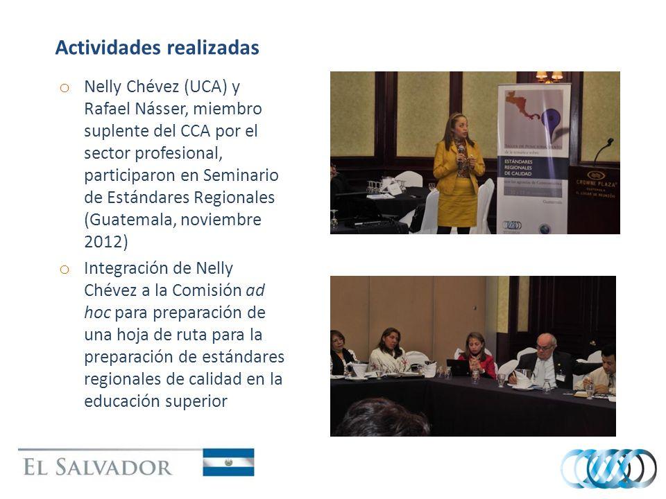 Actividades realizadas o Nelly Chévez (UCA) y Rafael Násser, miembro suplente del CCA por el sector profesional, participaron en Seminario de Estándares Regionales (Guatemala, noviembre 2012) o Integración de Nelly Chévez a la Comisión ad hoc para preparación de una hoja de ruta para la preparación de estándares regionales de calidad en la educación superior