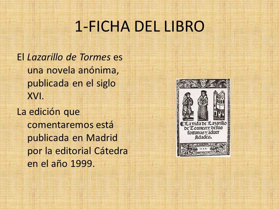 1-FICHA DEL LIBRO El Lazarillo de Tormes es una novela anónima, publicada en el siglo XVI. La edición que comentaremos está publicada en Madrid por la