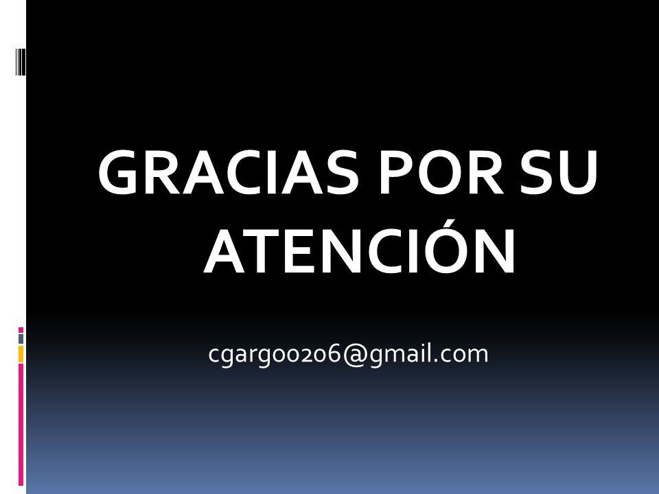 GRACIAS POR SU ATENCIÓN cgargo0206@gmail.com